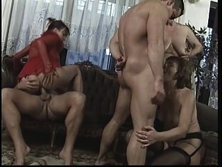 Wild Mature Orgy In Living Room With Big Dick Studs