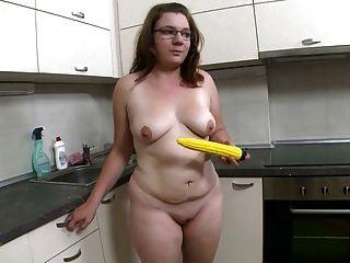 Fat Girl Strips And Fucks Yellow Dildo