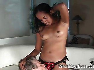 Ebony Femdom Punishing A Male Slave
