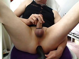 My Tight Shaved Asshole Get Fucked By Black Dildo