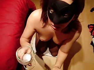 Maske Mature Eats Cum From Glass!