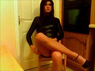 Black Latex Dress & Tan Pantyhose