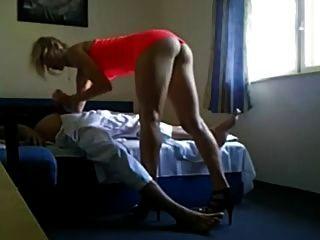 Cute High Heels Blond Escort Secretly Filmed On Camera