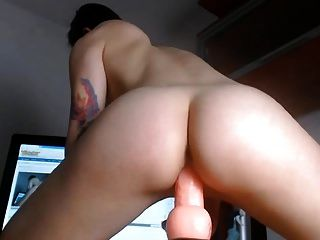 Firm Round Ass Riding Dildo And Vibrator In Shaved Pussy