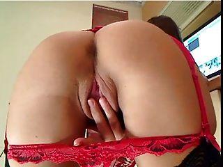 Class Cam Girl Anouschka In Her Red Garter Belt.