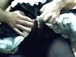 Tranny French-maid Cock Cumshot In Black Tights Pantyhose
