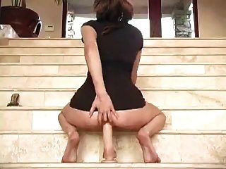 Big Dildo Fucking On Stairs