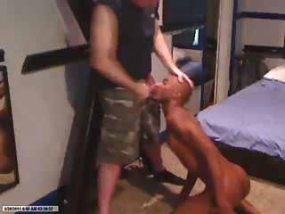 Black Slave Sucks White Military Daddy Cock