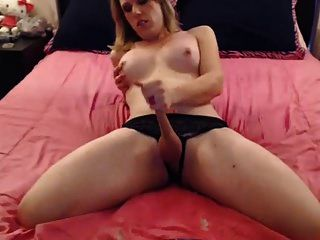 Shemale Strokes Off Then Licks Her Cum