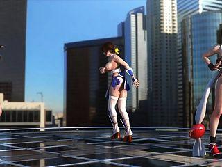 Tifa, Kasumi & Mai Dancing Topless