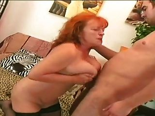 Redhead Granny Slut Eva Sucking And Fucking