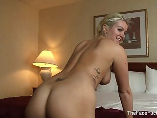Hot Blonde Gets Her Throat Fucked