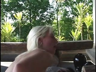 Bleached Blonde Babe Gets On Her Knees And Sucks Thick Black Cock Then Fucks