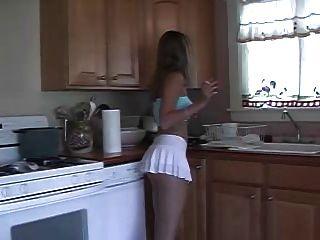 Smoking Hottie In White Skirt.