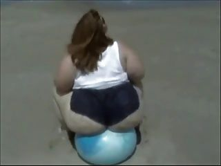Solo #65 (ssbbw) Bouncing On A Beachball At The Beach