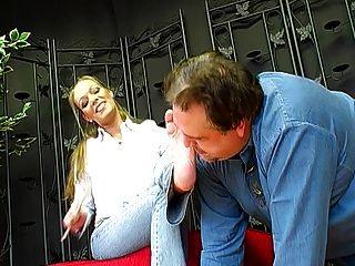 German Femdom Lady Joanne And Her Foot Slave  1