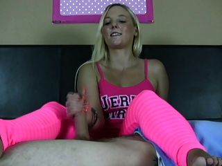 Busty Blonde In Pink Jerks A Cock