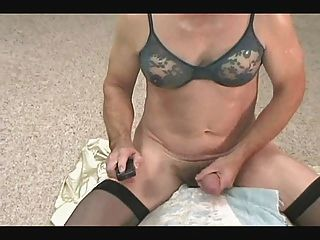 Allycdtv In Blue Bra, Black Nylons And A Hardon
