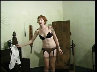 Pretty Whore In Black Lingerie Getting Ready For Bdsm