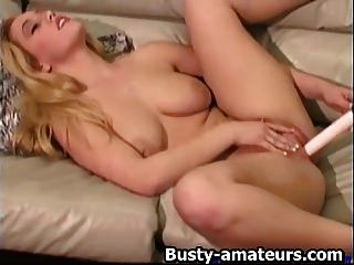 Cheri Dildoing Her Shave Pussy On Couch