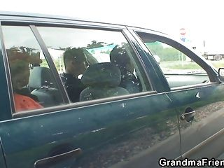 Old Bitch Takes Two Cocks Outside