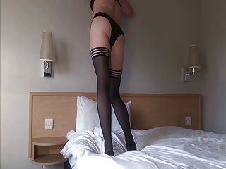 Emma Lee Shemale In Stockings Fingers Her Ass