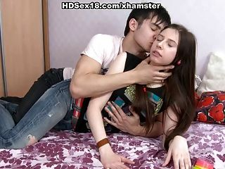Young Brunette Masturbates And Fucks With Her Boyfriend