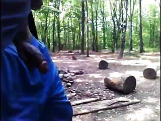 Black Guy Walks In Woods With Cock Out