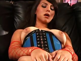 Solo Masturbation Series Brunette In A Corset