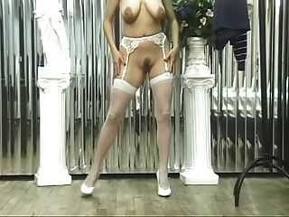 Girl In Sexy Lingerie Shows Hot Pussy And Tits
