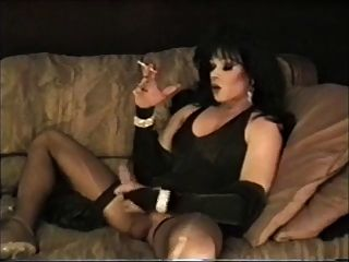 Dark Haired Tranny Lisa Dupree Smoking & Wanking