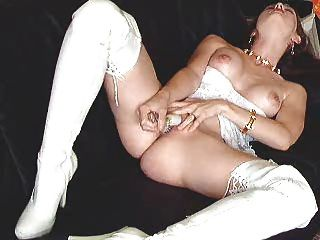 Long White Boots And Dildoing