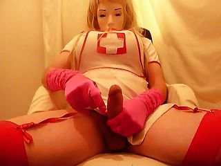 Crossdresser Plasticface Cums On Pink Gloves