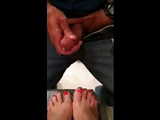 Misshotwife - Letting Husband Cum On My Orange Painted Toes