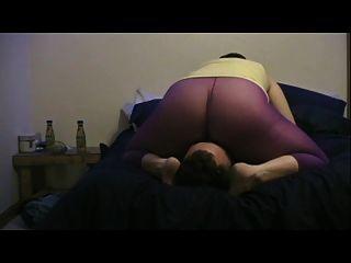 Purple Pantyhose Facesitting