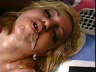 Blonde Gets Two Loads In Her Mouth And Makes Cum Bubbles