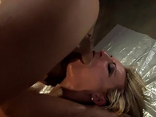 Lubed Up Babe Fucking In Sexy Fishnet Lingerie