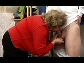 Horny Granny Sucking Young Cock