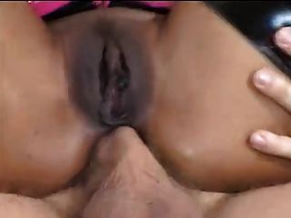 Ebony Slut Drinks White Cum Out Of Her Ass