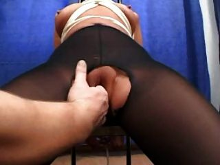 Bound And Fisted In Ripped Pantyhose