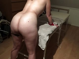 Danish Girl Light Spanking With Whip - Lidt Blid Bondage Leg