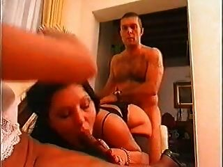 Threesome With Horny Shemale