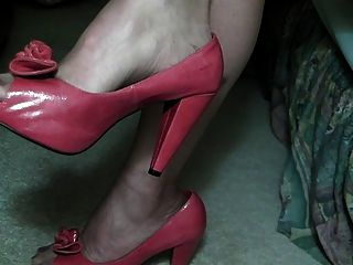7 Denier Stockings, Red Peep Toe Pumps, And A Some Cock.