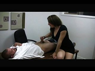 Hot Secretary Mistress Jerks Off A Guy