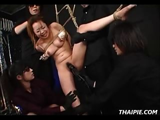 Asian Teen Ball Gagged And Nipple Clamped