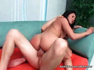 Big Titted Asian Whore Gets Double Nailed