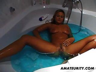Busty Amateur Girlfriend Masturbates And Sucks In Her Bath