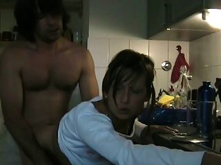 Slut Cheating Wife Sucking Her Lover With Cim In The Kitchen
