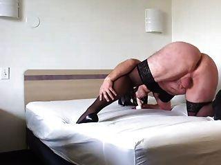 Crossdresser Suck Rubber Cock