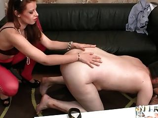 French Man Ass Fucked By 2 Girls With Strapon Dildos